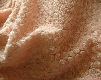 peach pink chiffon roette fabric, Chic rosette fabric, shabby rosette fabric, Bridal fabric, photography backdrop, 3D rosette fbaric