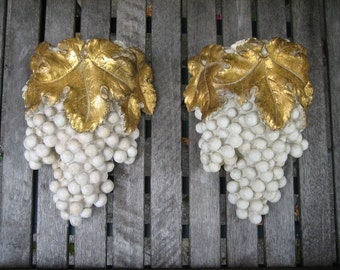 Cement Grape Cluster Planters Gold Metallic Gilt Wall Pocket Vineyard French Country Home Decor