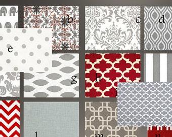 Baby Bedding Crib Stroller  Quilt  cotton modern prints Red Grey or Sets