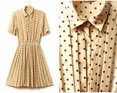 Cream Polka Dot Dress - 80s, pleated skirt, brown polka dots, shirt dress, xs, extra small - small, approx US 2