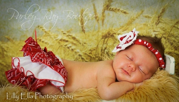 A Beautiful Parley Ray Cowgirl Western Ruffled Diaper Cover/ Baby Bloomers/ Photo Prop