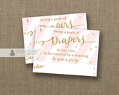 Diaper Raffle Ticket INSTANT DOWNLOAD Blush Pink Stripe Gold Glitter Girl Baby Shower Game Drawing Contest Insert Card Printable DIY- Stella