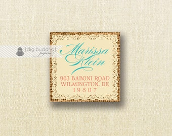 "Coral & Turquoise Address Labels Small Stickers 1.25"" Square Lace Burlap Bridal Shower Seals FREE PRIORITY SHIPPING or DiY Printable- Jackie"