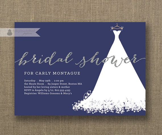 Navy Blue And Silver Wedding Invitations: Silver Glitter Bridal Shower Invitation Wedding Gown White