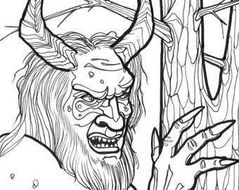 troll, norse myth, horror art, coloring book page