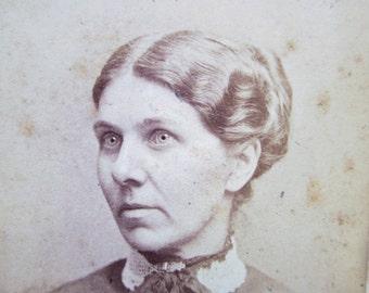 Antique Photograph CDV Carte De Visite Black White Photo Darling Young Victorian Woman