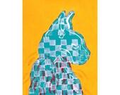 linocut cat print and acrylic on Shiramine rice paper, small art work, Cat Wings I