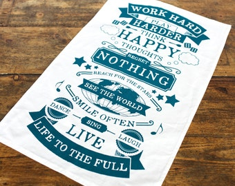 Family Rules Tea Towel, Typographic, Turquoise Kitchen, House Rules, Work Hard Play Harder, Motivational, Live Life, Turquoise, Life Quote