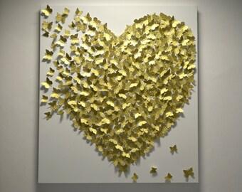 3D Gold Butterfly Art  - Hollywood Regency Glam / Modern Statement Wall Art / Wedding or Anniversary Gift / Gold Wall Art / Modern Kids Art