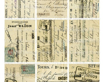 ATC Backgrounds Vintage French Ephemera Cards Set 2 Printable Digital Collage Sheet