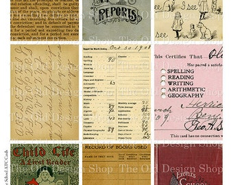 ATC Backgrounds Vintage School Cards Printable Digital Collage Sheet