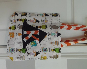 Monogrammed Halloween Trick or Treat Bag - White Character Fabric