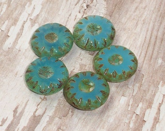 Blue Wheel Bead 13mm Czech Glass Aqua Carved Picasso DELRAY (6)