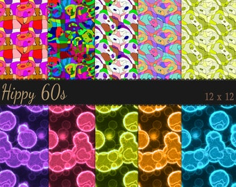 Digital Hippy 60s Papers - Assorted Colours - 10 60s party look Papers- Psychedelic papers