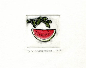 watermelon red etching miniprint