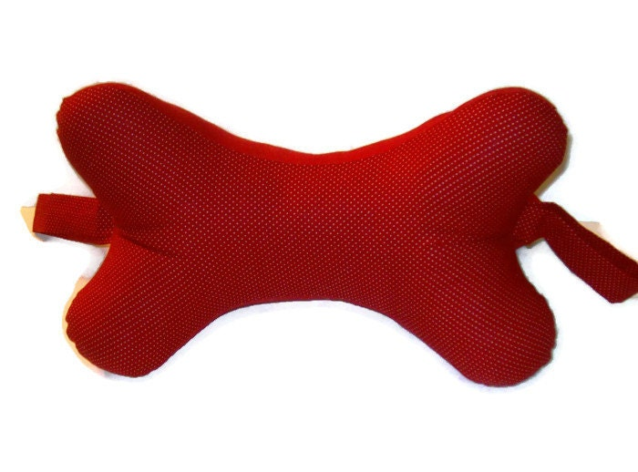 Red Dog Bone Shaped Neck Pillow MadewithLovebyDeena Red Neck