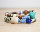 Teal and Blue  Recycled Paper Bead Bracelet Set, Made From Book Pages, Summer Time Bracelet, Chunky Bracelet, Teacher Gift