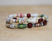 Earthy Bracelet, Handmade Recycled Paper Beads From Old Library Books, Perfect Gift For Book Lovers, Nerdy Gift, Jack And Beanstalk