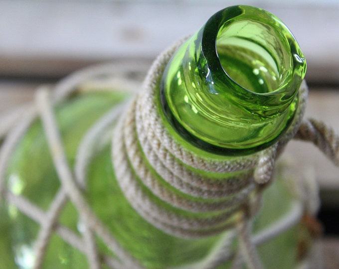 Beach Decor Light Green Glass Pirates Rum Jug in Rope Netting by SEASTYLE
