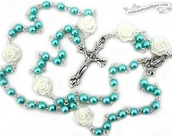 Communion rosary, confirmation gift, boys rosary, turquoise rosaries, christening gift, pearl rosary, baptism rosaries, catholic rosary