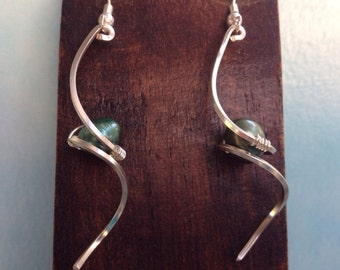 Silver wire wrapped pearls earrings