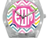 Monogrammed Personalized Boyfriend Watches - Stainless Steel or Gold Plated - Great Accessory