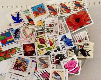 Used postage - 30 assorted Love Flowers &  Bird Stamps - grab bag - decoupage - Collage - Embellishments - Kid's Crafts - random assortment