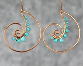 Scroll hoop copper wiring turquoise shell hoop Rococo earring handmade US free shipping Anni Designs