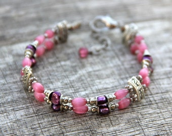 Layered double strand fuchsia pearl beaded Bracelet bridesmaids gifts Free US Shipping handmade Anni designs