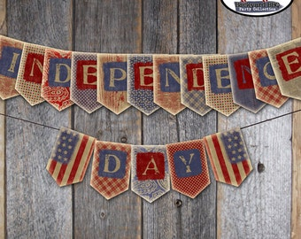 Fourth of July - Independence Day - Bunting Banner - Backyard BBQ Banner  -  Printable (July 4th, America, Patriotic, Vintage)