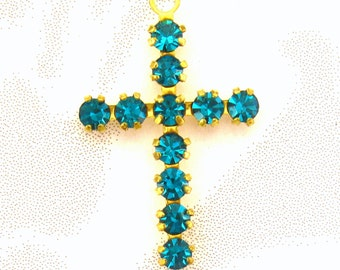 Crystal Cross Charms - 3 Blue Zircon Crosses - prong set Austrian Crystal findings Jewelry Supplies Embellishments Charms