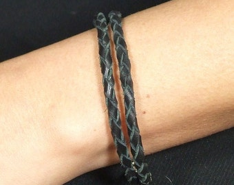 Braided double strand leather bracelet with silver tips and clasp