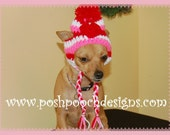 Dog beanie - Ear flap dog hat with Heart Applique - Small Dog beanie 2-15 lbs