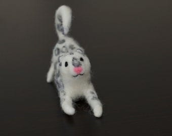 Needle Felted Snow Leopard