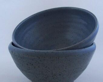 Breakfast bowl. With cobalt blue glaze. Ceramics stoneware pottery