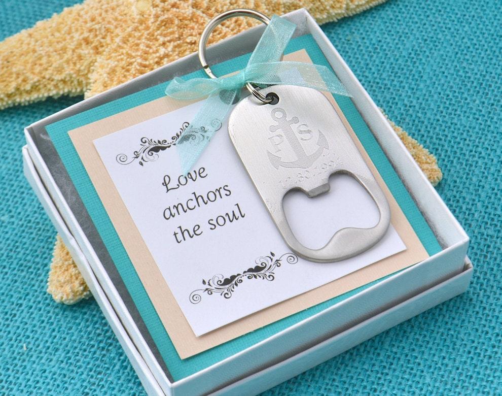 anchor wedding monogram keychain w giftbox bottle opener. Black Bedroom Furniture Sets. Home Design Ideas