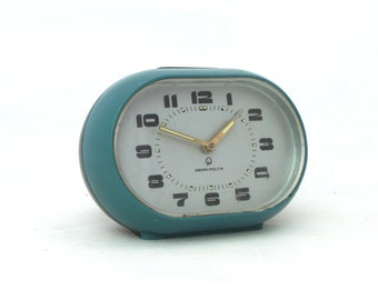 Vintage alarm clock turquoise / black  made in Poland 70s