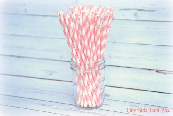 PINK Paper Straws - Set of 25 - Paper Straws - Milk Bottle Straw - Soda Straw - Pink Striped Paper Straws