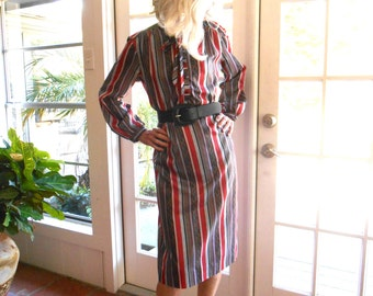 Vintage Hal Hardin long sleeve shirt dress, bow tie, stripes pussy bow office classic traditional professional: medium, large