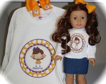 LSU Cheerleader Matching Girl and Doll Shirt Set - short or long sleeve shirts