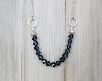 Blue Glass Necklace, Bar Necklace, Glass Beads Necklace, Silver Necklace, Crystal Necklace, Statement