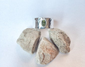 Peridot Ring -Wide Silver Band Ring with Peridot Stone