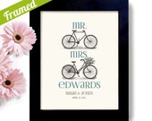 Mr and Mrs Unique Bicycle Theme Wedding Gift His and a Hers Bike Framed Decor Gift for Couples Engagement Art