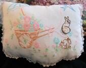 ON SALE Vintage Shabby Chic Bunny Rabbit Pillow Romantic Cottage Linens Postcard