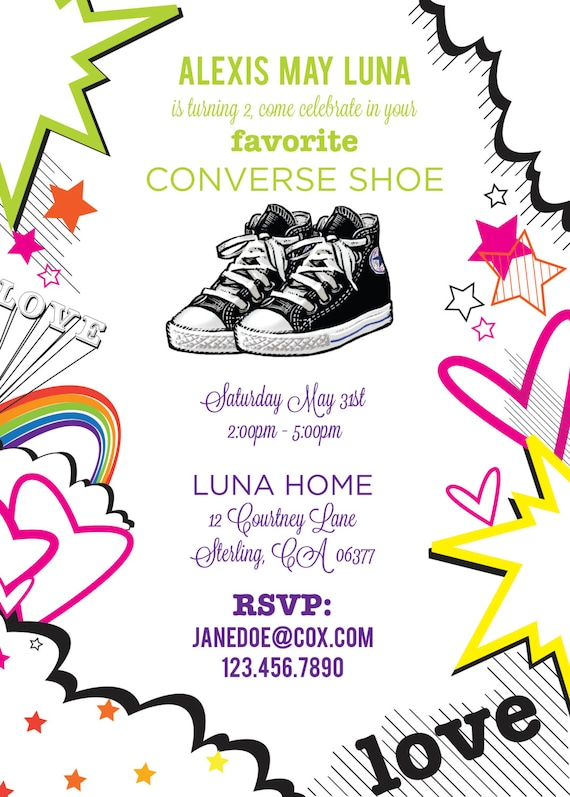 converse shoe 80 u0026 39 s birthday invite bridal shower baby by