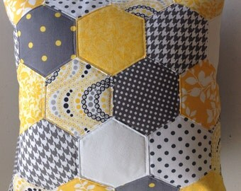 Yellow & Grey Hexie Pillow Cover