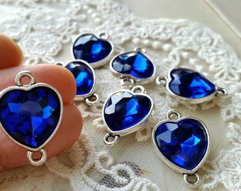 17 x 17 mm Tibetan Silver Heart Shape Charm Pendant / Crystal Pendant / Drop Pendant / Charm Connector / Navy Blue Zircon   (s.h)