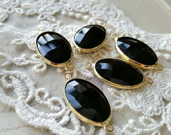 1 Piece of 30 x 15 mm Oval Shape Charm Pendants / Rhinestone/ Charm Connector / Black Zircon / Golden Plated Metal Rimmed  (n.a)