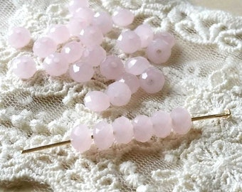 4 x 6 mm 48 Faceted Cut Rondelle Light Pink Color Glass / Crystal / Lampwork Beads (.ma)