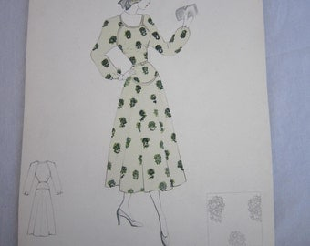 Handrawn 1949 Fashion Illustration, Watercolor & Ink
